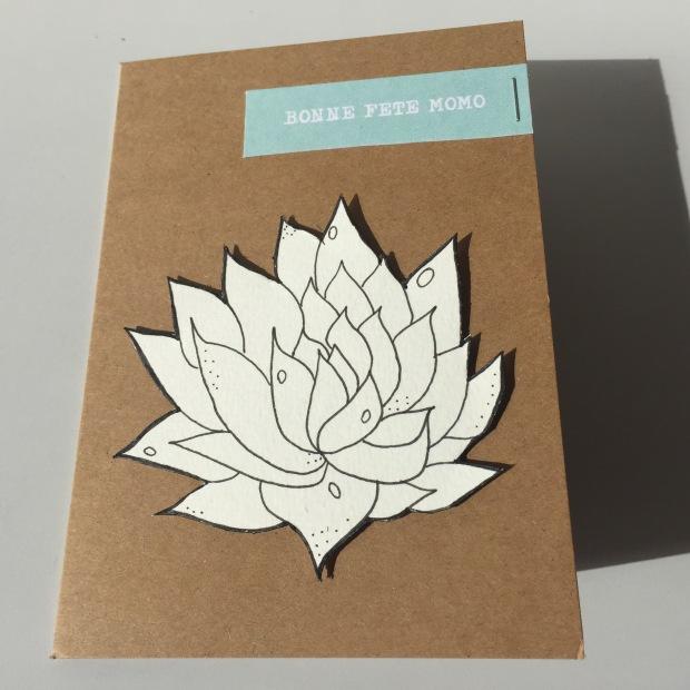 Carte Doodle Succulentes aqua blanc craft